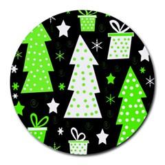 Green Playful Xmas Round Mousepads