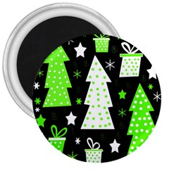 Green Playful Xmas 3  Magnets