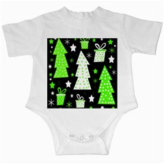 Green Playful Xmas Infant Creepers
