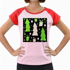 Green Playful Xmas Women s Cap Sleeve T-Shirt