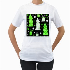 Green Playful Xmas Women s T-Shirt (White) (Two Sided)