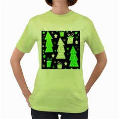 Green Playful Xmas Women s Green T-Shirt