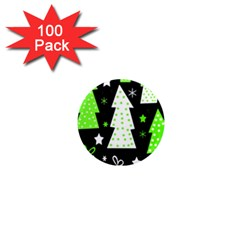 Green Playful Xmas 1  Mini Magnets (100 pack)