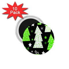 Green Playful Xmas 1.75  Magnets (10 pack)