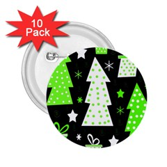 Green Playful Xmas 2.25  Buttons (10 pack)