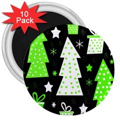 Green Playful Xmas 3  Magnets (10 pack)