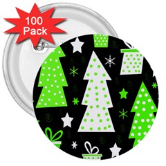 Green Playful Xmas 3  Buttons (100 pack)