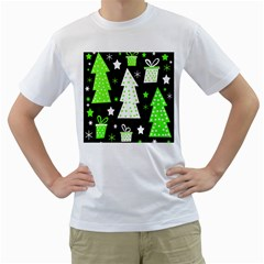 Green Playful Xmas Men s T-Shirt (White) (Two Sided)