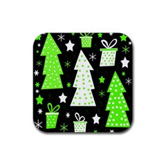 Green Playful Xmas Rubber Square Coaster (4 pack)