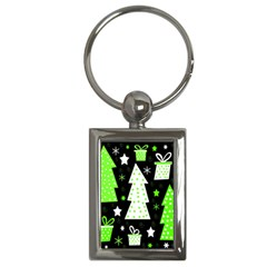 Green Playful Xmas Key Chains (Rectangle)