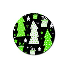 Green Playful Xmas Rubber Round Coaster (4 pack)