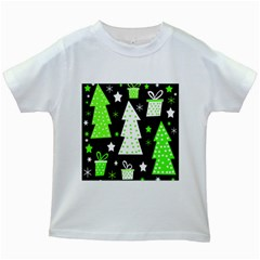 Green Playful Xmas Kids White T-Shirts