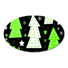 Green Playful Xmas Oval Magnet