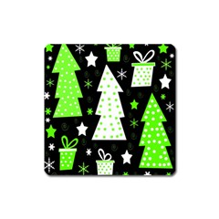 Green Playful Xmas Square Magnet