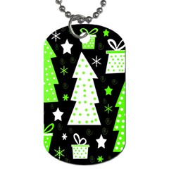 Green Playful Xmas Dog Tag (One Side)