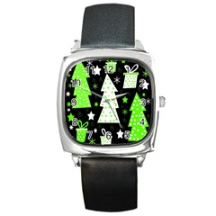 Green Playful Xmas Square Metal Watch