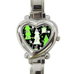 Green Playful Xmas Heart Italian Charm Watch