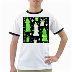 Green Playful Xmas Ringer T-Shirts