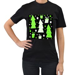 Green Playful Xmas Women s T-Shirt (Black) (Two Sided)