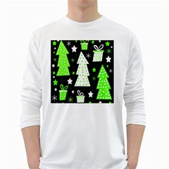 Green Playful Xmas White Long Sleeve T-Shirts