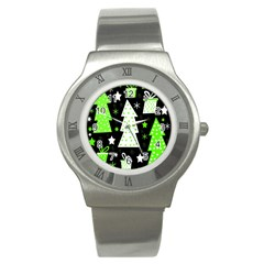 Green Playful Xmas Stainless Steel Watch
