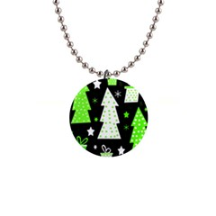 Green Playful Xmas Button Necklaces