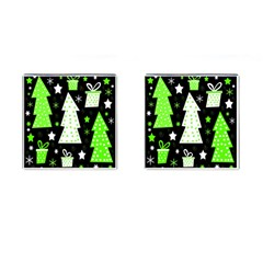 Green Playful Xmas Cufflinks (Square)