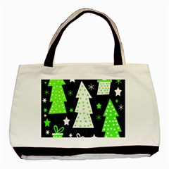 Green Playful Xmas Basic Tote Bag