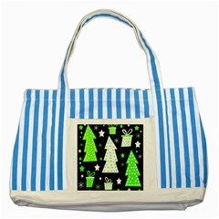 Green Playful Xmas Striped Blue Tote Bag