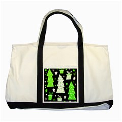 Green Playful Xmas Two Tone Tote Bag