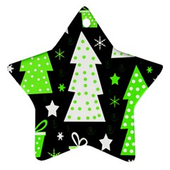 Green Playful Xmas Star Ornament (Two Sides)
