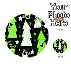 Green Playful Xmas Playing Cards 54 (Round)