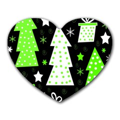 Green Playful Xmas Heart Mousepads