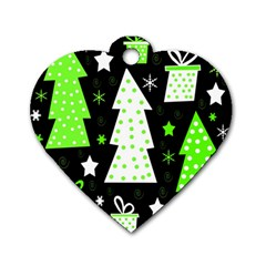 Green Playful Xmas Dog Tag Heart (One Side)