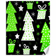 Green Playful Xmas Canvas 11  x 14