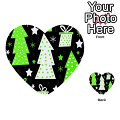 Green Playful Xmas Multi-purpose Cards (Heart)