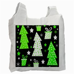 Green Playful Xmas Recycle Bag (One Side)
