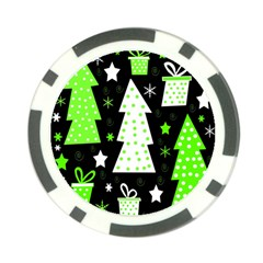 Green Playful Xmas Poker Chip Card Guards (10 pack)