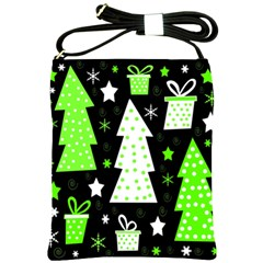 Green Playful Xmas Shoulder Sling Bags