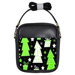 Green Playful Xmas Girls Sling Bags