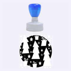 Green Playful Xmas Rubber Round Stamps (Medium)