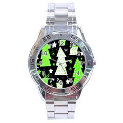 Green Playful Xmas Stainless Steel Analogue Watch