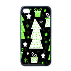 Green Playful Xmas Apple iPhone 4 Case (Black)