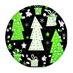 Green Playful Xmas Round Filigree Ornament (2Side)