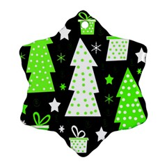Green Playful Xmas Snowflake Ornament (2-Side)