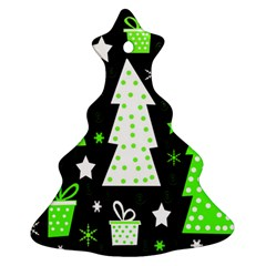 Green Playful Xmas Christmas Tree Ornament (2 Sides)