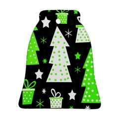 Green Playful Xmas Bell Ornament (2 Sides)