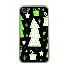 Green Playful Xmas Apple iPhone 4 Case (Clear)