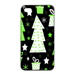 Green Playful Xmas Apple iPhone 4/4s Seamless Case (Black)