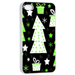 Green Playful Xmas Apple iPhone 4/4s Seamless Case (White)